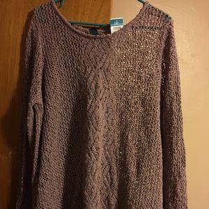 NWT 2x mauve lacy knit spilt-back sweater